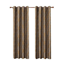 Savanna 2PC Gold Jacquard Grommet Window Curtain Panels