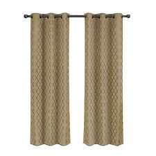 Taupe Jacquard Blackout Thermal Insulated Window Curtain Panel Willow Pair