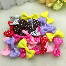 10/50/100 Pcs Lace Satin Ribbon Webbing BOW Appliques Craft Wedding Decoration