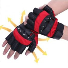 Mens Outdoor Soft Sheep Leather Driving Motorcycle Biker Fingerless PU Gloves