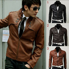 NEW 2015 Men's Slim Top Designed Sexy PU Leather Short Jacket Coat 3color/4 Size