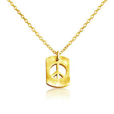 Gold Plated Silver Open Peace Sign Tag Pendant Necklace #Azaggi N706G