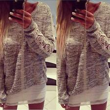 Womens Scoop Neck Long Sleeve Lace T-shirt Jumper Pullover Tops Blouse Sweater