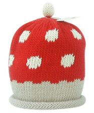 MERRY BERRIES Red & Cream Toadstool Hand Knitted 100% Cotton Baby Berry Hat BNWT