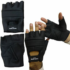 GENUINE LEATHER FINGERLESS GLOVES BIKERS GYM CYCLING WEIGHT TRAINING CAR DRIVING