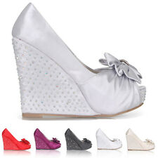 WOMENS LADIES WEDDING PLATFORM WEDGE BRIDAL SANDALS EVENING PROM SHOES