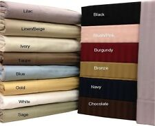 King-Size 600 Thread Count Damask Stripe Bed Sheets, 100% Cotton 4PC Deep Pocket
