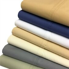 Crispy Percale Sheets, 300 TC King Solid Sheet Set, Cotton 22 Inch Deep Pocket