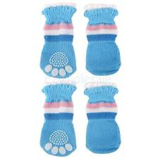 Dog Pet Non-Slip Socks Puppy Doggie Clothes Slippers Pink Blue White S-XL
