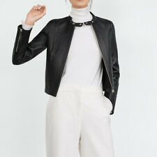 Women Short Motorcycle PU Leather Jackets and Coats Black Faux Suede Outerwear