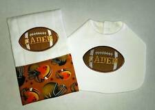 New Handmade Personalized  Brown Football Baby Boy Bib Burp Cloth, Burp Cloths