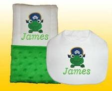 New Personalized Handmade Green Minky Baby Boy Bib Burp Cloth, Burp Cloths Set