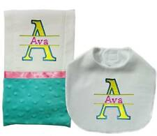 New Handmade Personalized Blue Girl Baby Bib And Burp Cloths Sets