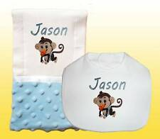 New Handmade Personalized Monkey Blue Baby Boy Bib Burp Cloth, Burp Cloths Set