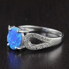 Womens 925 Sterling Silver Lab Created Fire Blue Opal Oval CZ Ring