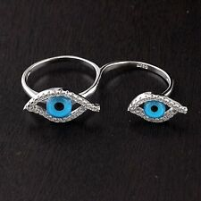 Womens 925 Sterling Silver CZ Micro Pave Two Fingers Blue Evil Eye Double Ring