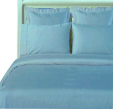Blue 100% Cotton Solid Comforter Cover, 3PC 600 TC Sateen Weave Duvet Cover Set