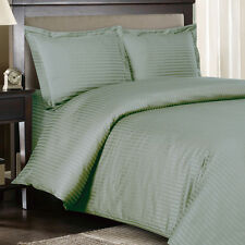 Sage 100% Cotton & 600 Thread count Sateen Striped Duvet Cover Set