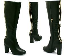 WOMENS KNEE HIGH BOOTS LADIES HIGH BLOCK HEEL GOLD STUDS RIDING BOOT SHOES SIZE