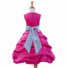 COLORFUL FUCHSIA HOT PINK PRINCESS FLOWER GIRL DRESS WEDDING FORMAL ELEGANT NEW