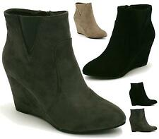Ladies Womens Faux Suede Wedge Zip Up Ankle Gusset Chelsea Boots Shoes Size