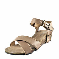 Manfield Womens Buckle Wedge Luke Summer Sandals Taupe AUTHENTIC