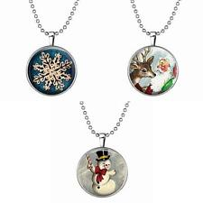 Charming Luminous Xmas Snowman Reindeer Snow Pendant Necklace Party Jewelry Gift