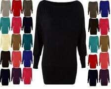 WOMENS BATWING PLUS SIZE BAGGY TOP JUMPER JERSEY LADIES LONG SLEEVE 6 - 26 btwng