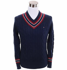 Tommy Hilfiger Men Cable Cricket Knit V-Neck Long Sleeve Sweater - $0 Free Ship