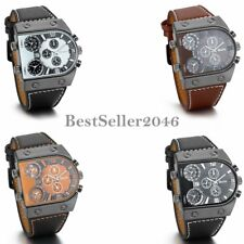 Men's Military Army Multiple Time Zone Big Dial Leather Band Quartz Wrist Watch