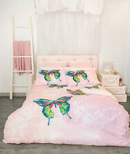 Retro Butterfly Papillon Pink Quilt Doona Cover Set - Single Double Queen King