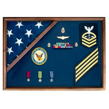 Medal Glass Display Case Shadow Box, Coast Guard Flag Display Made By Veterans