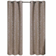 Virginia Taupe Blackout Weave 2PC Contemporary Grommet-Top Window Curtain Panels