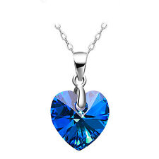 platinum plated 925  Sterling Silver blue sea heart crystal Necklace Pendant