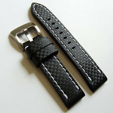 LUX Leather Carbon Fiber Embossed Pattern Watch Strap Band 20-24mm