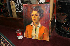 Vintage Rubinfeld Expressionist Oil Painting-Gorgeous Woman Orange Jacket-LQQK