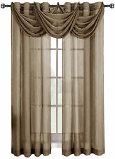 Mocha Abri Grommet Crushed Sheer Single Window Curtain Panel