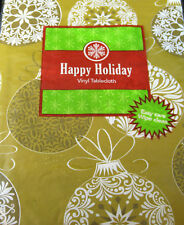 Happy Holiday Gold Ornaments Flannel Back Vinyl Tablecloth Asst. Sizes Obl. & Rd