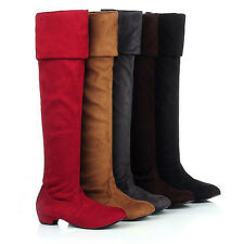 Size4-10.5 Womens Low Heel Over The Knee Boots Faux Suede Cuffed Pull On Boots