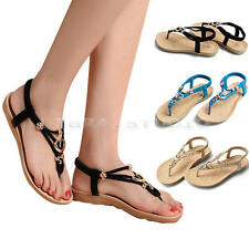 Women Girls Summer Beaded Flip Flops Sandals T-strap Ankle Slipper Flat Shoes