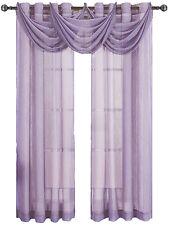 Abri Lavender Grommet crushed sheer curtain panel.