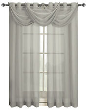 "Gray-Color Abri Grommet Crushed Sheer Window Waterfall Valance - 24"" W X 24"" L"
