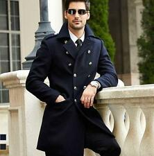 New Men winter military peacoat double breasted coat woolen trench long outwear