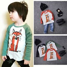 Toddler Kids Baby Boy Girl 100% Cotton Long Sleeve Fox T-Shirt Tees Tops Clothes