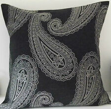 Black and Silver Paisley Cushion Cover