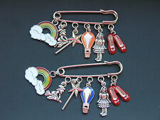 Wizard of OZ inspired theme charm pin brooch badge Hot air balloon rainbow shoes