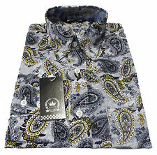 Relco Mens Long Sleeved Paisley Shirt Grey/Mustard Mod-Retro Button Down