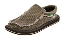Sanuk Men's Brown Chiba Sidewalk Surfers Frayed Slip On Shoes