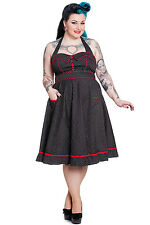 Hell Bunny Plus Size Rockabilly Black White Polka Dot Red Trim Pinup Dress 1X-3X