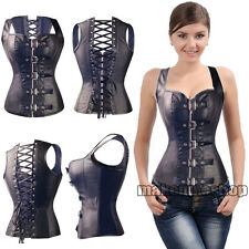 UK Lace Up Sexy Bustier Basques Corset Lingerie Fancy Rouge Goth Free G-string